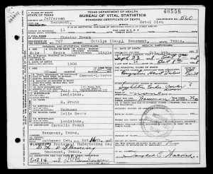 Death Certificate of Chester Frank
