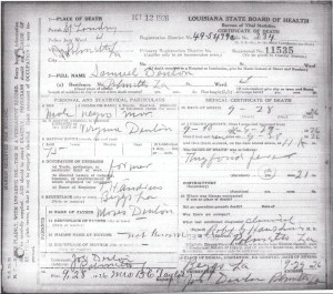 Sam Denton death certificate