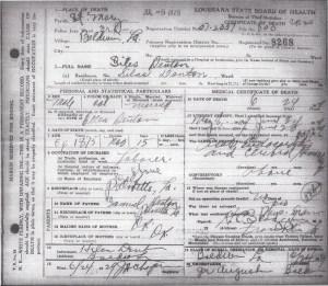 Silas Denton Death Certificate