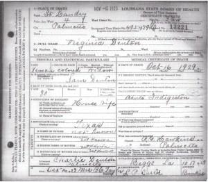 Virginia Denton Death Certificate