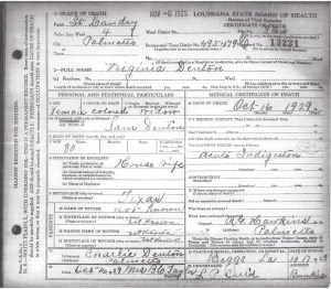 Virginia Denton Death Certificate