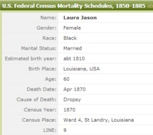 Laura Jason 1870 Federal Mortality Schedule