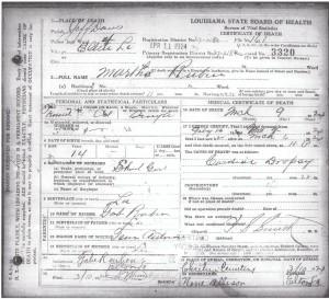 Marth Ruben's Death Certificate