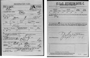WWi Draft Registration Gabe Ruben