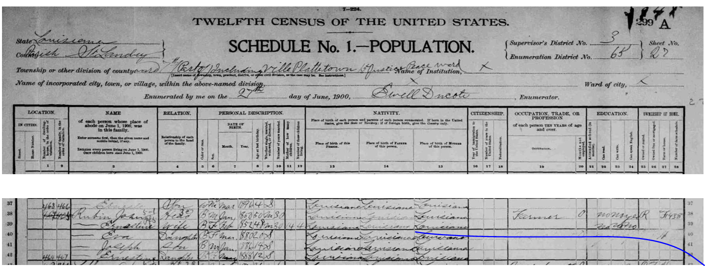 eva rubin 1900 census original
