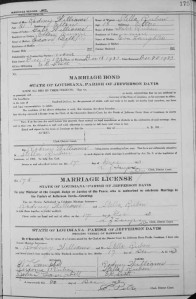 Stella Ruben and Rodney marriage license