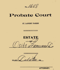 cover sheet Osite Lamarinde probate