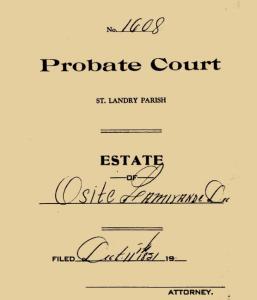 cover sheet Osite Lamarinde probate