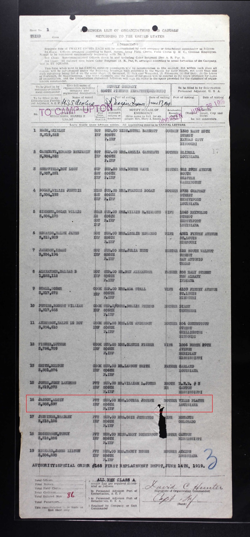 US Army Transport Service Passenger Lists, 1910-1939 for Alcin Jasson _June 1919 return