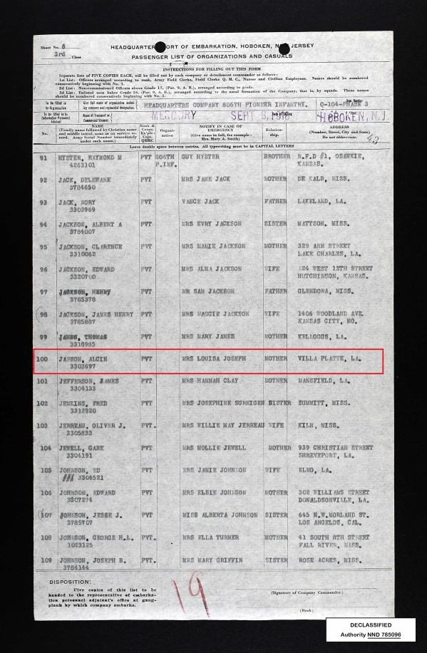 US Army Transport Service Passenger Lists, 1910-1939 for Alcin Jasson _Sep 1918