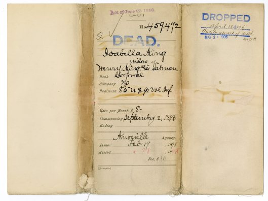 File jacket showing Isabella, wife of deceased soldier Henry King alias Tatman being