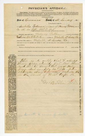 Physician's affidavit of Henry King's death