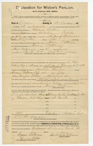 Isabella's Widow's Pension Declaration
