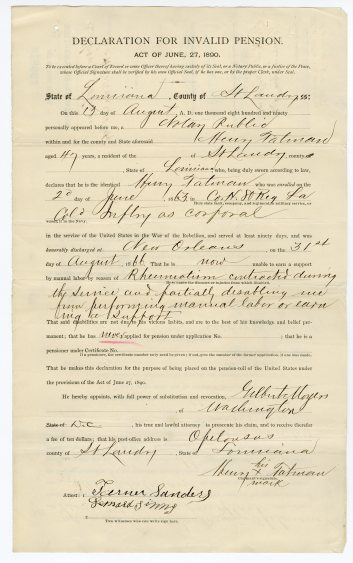 Henry King's filing for civil war pension